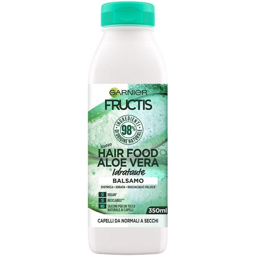 garnier fructis hair food, balsamo idratante all'aloe per capelli disidratati, aloe, 3 balsamo capelli 350ml