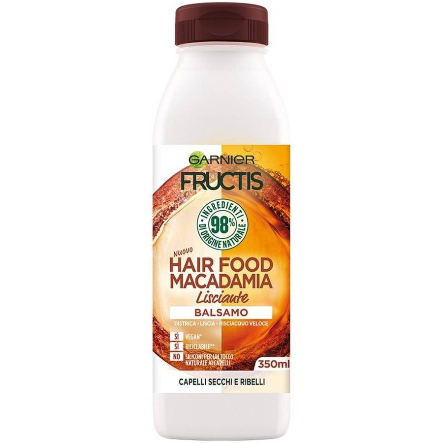 garnier fructis hair food, balsamo lisicante macadamia per capelli da lisciare, macadamia, 3 balsamo capelli 350ml