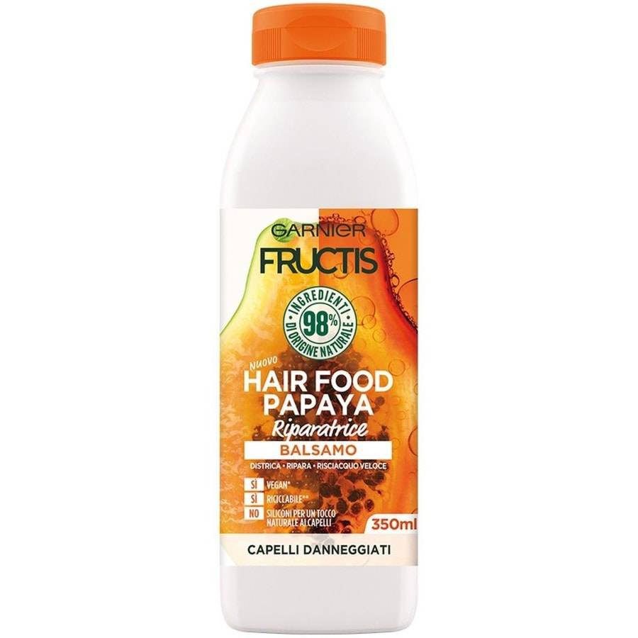 garnier fructis hair food, balsamo riparatore alla papaya per capelli danneggiati, papaya, 3 balsamo capelli 350ml