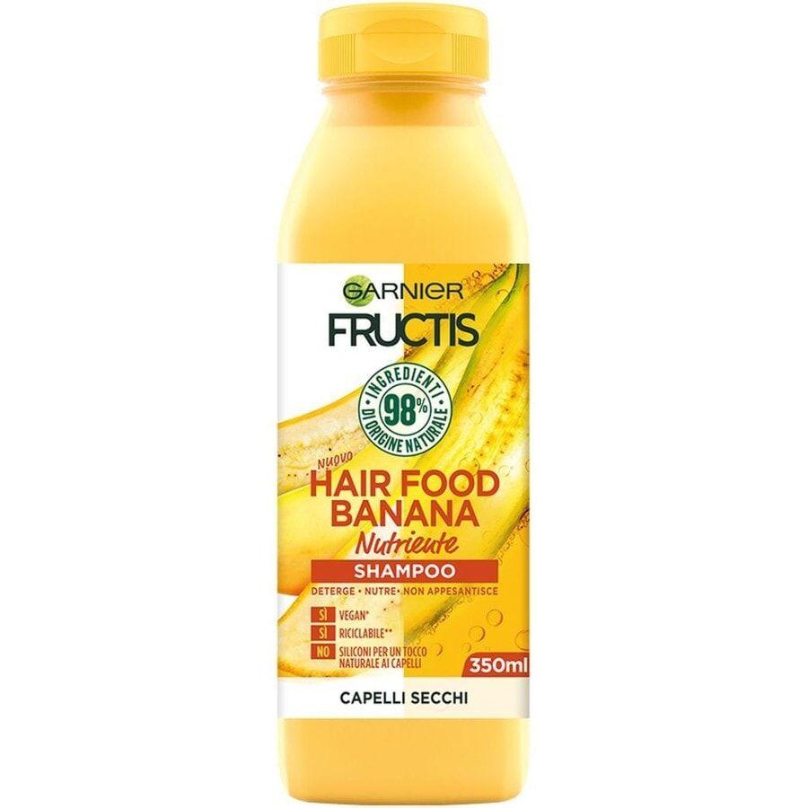 garnier fructis hair food, shampoo nutriente per capelli secchi, banana, 3 shampoo capelli 350ml