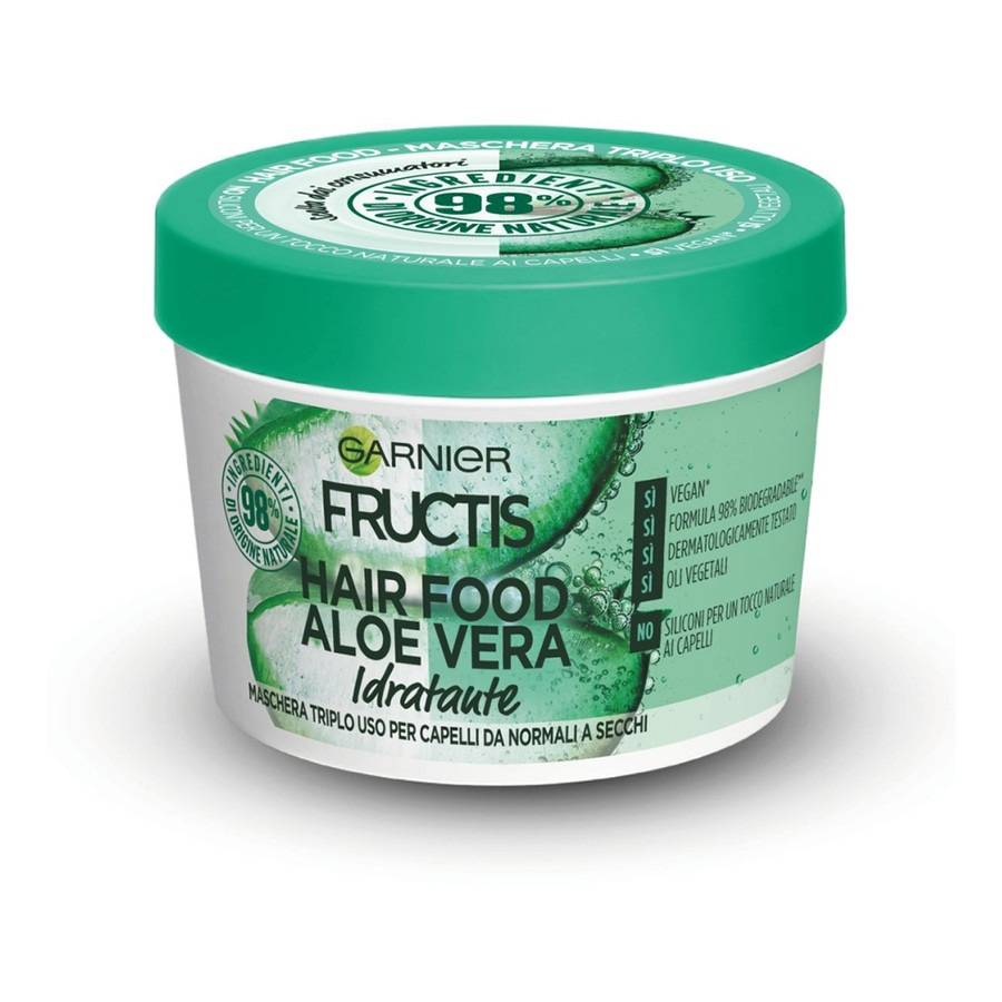 garnier fructis hair food, maschera riparatrice 3 in 1 con formula vegana per capelli danneggiati, aloe maschera capelli 390ml