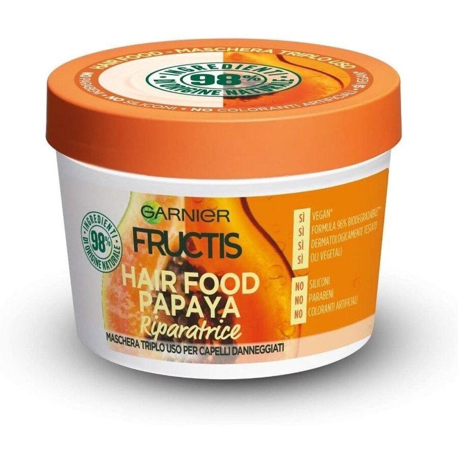 garnier fructis hair food, maschera riparatrice 3in1 con formula vegana per capelli danneggiati, papaya maschera capelli 390ml