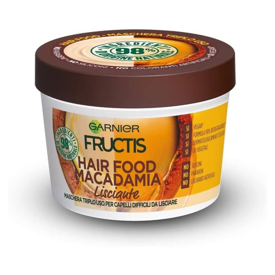 Garnier Fructis Hair Food, Maschera disciplinante 3in1 con formula vegana per capelli difficili da lisciare, Macadamia Maschera Capelli 390ml