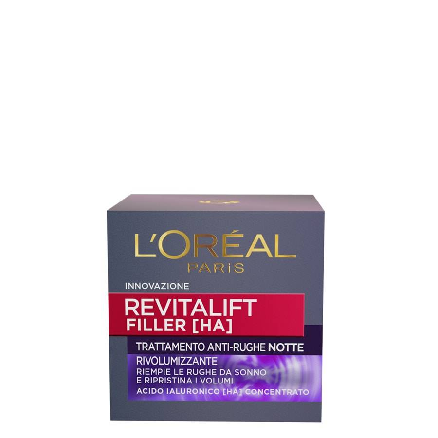 l'oréal paris revitalift filler, azione antirughe rivolumizzante notte con acido ialuronico concentrato, crema viso 50ml