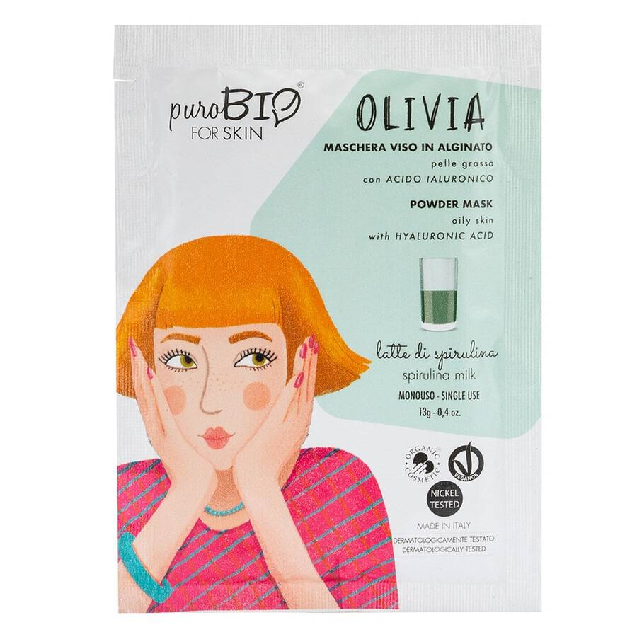 purobio 12 latte di spirulina olivia maschera viso peel off per pelli grasse 10ml