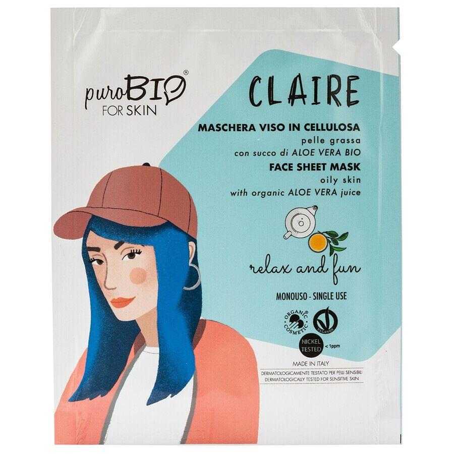 purobio 18 relax and fun claire maschera viso in tessuto per pelle grassa 15ml