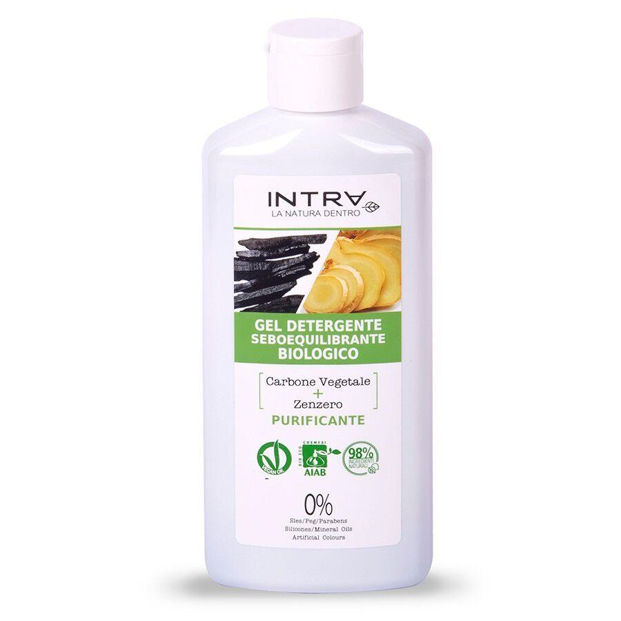Intra Carbone Vegetale & Zenzero Gel Detergente Purificante Biologico Detergente Viso 200ml