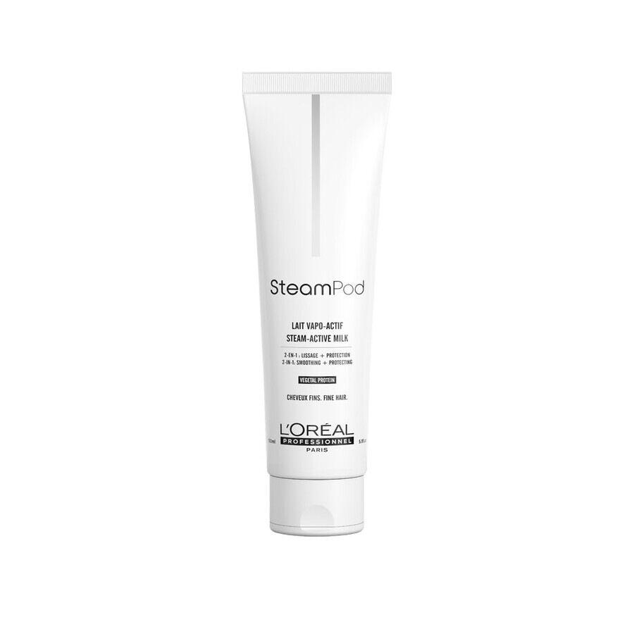 L'Oréal Professionnel SteamPod Latte Termo-protettore sino a 230°, per capelli da normali a fini, pre-utilizzo piastra a vapore SteamPod 3.0 Trattamento Capelli 150ml