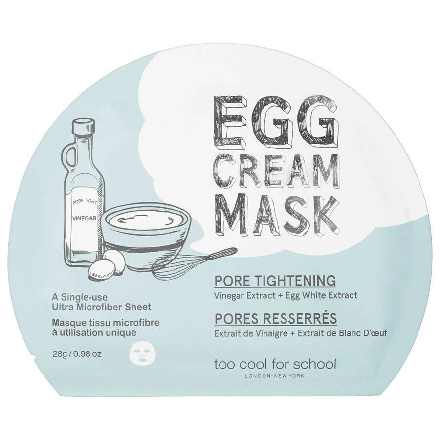 too cool for school egg cream mask  pore tightening maschera viso 28g