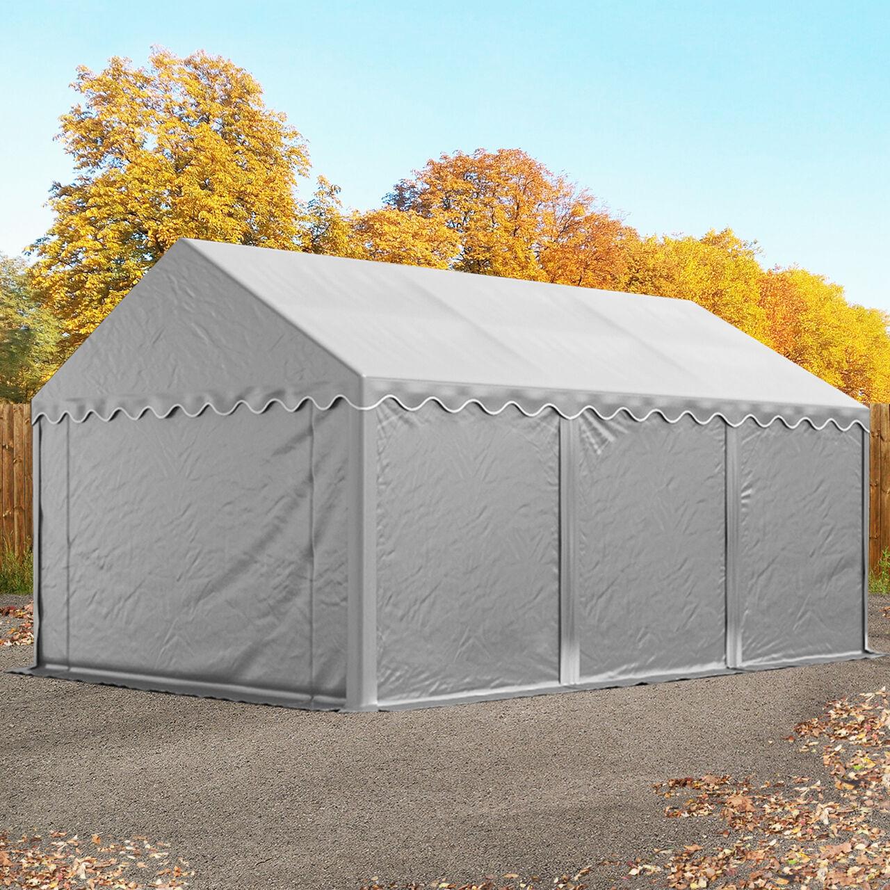 toolport tende capannone 4x6m pvc 500 g/m² grigio sì
