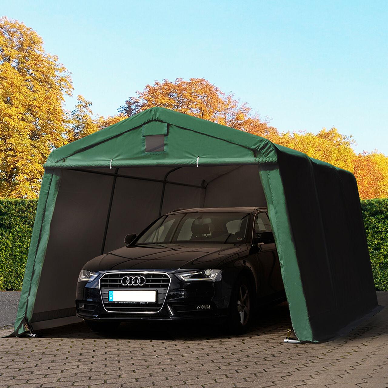 toolport tenda garage 3,3x4,8m pvc 500 g/m² verde sì