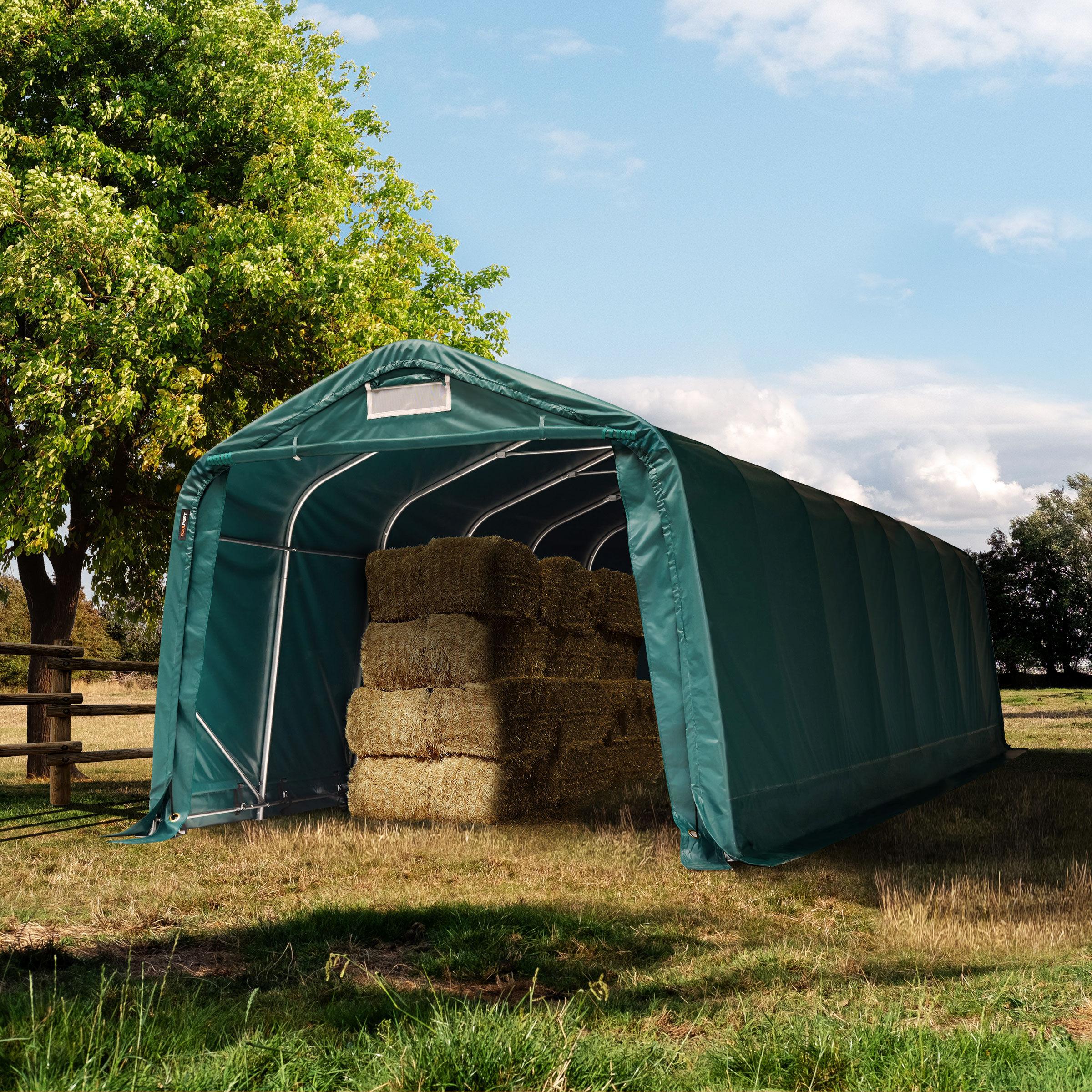 toolport box cavalli 3,3x8,4m pvc 550 g/m² verde sì