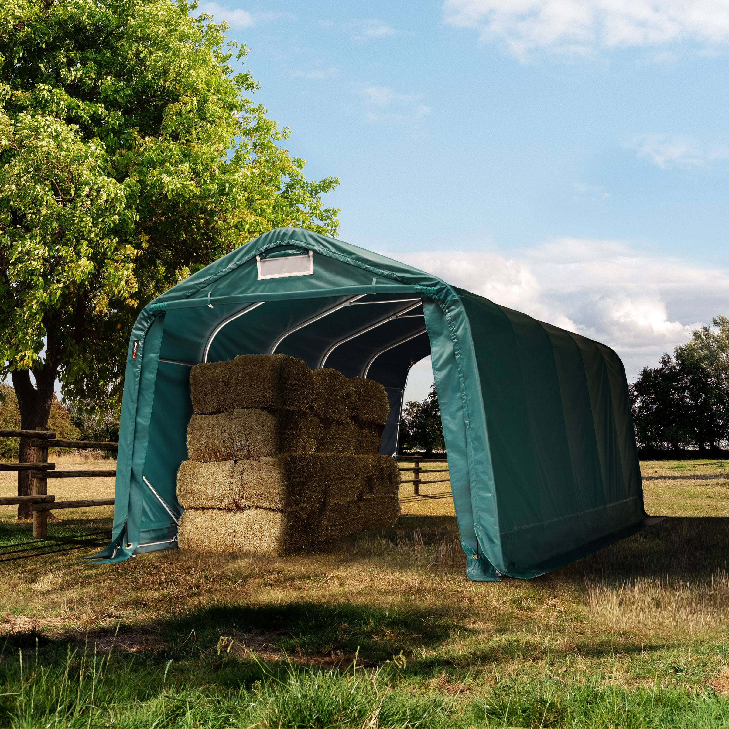 toolport box cavalli 3,3x6,0m pvc 550 g/m² verde sì