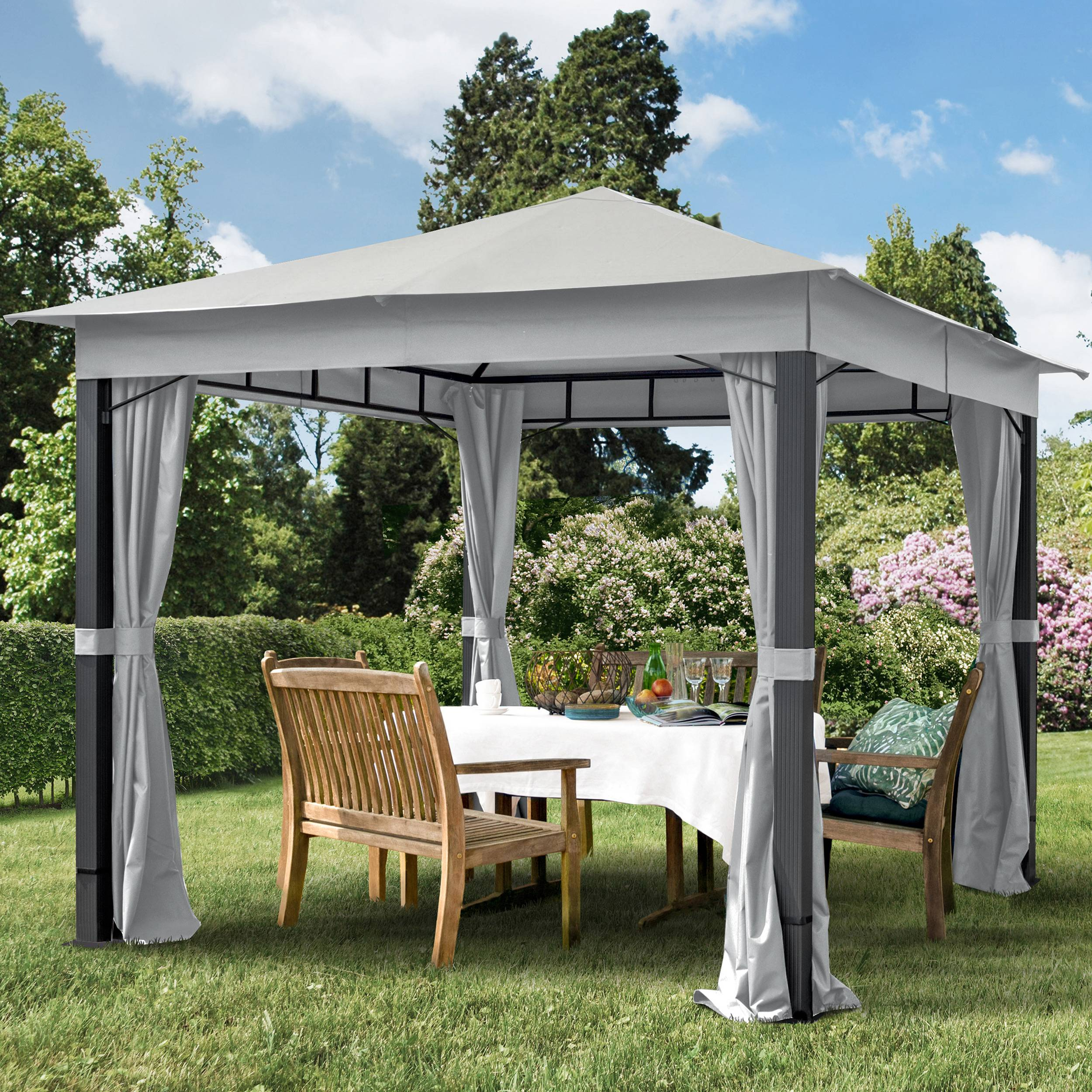 toolport gazebo da giardino 3x3m poliestere con rivestimento in pu 220 g/m² grigio impermeabile