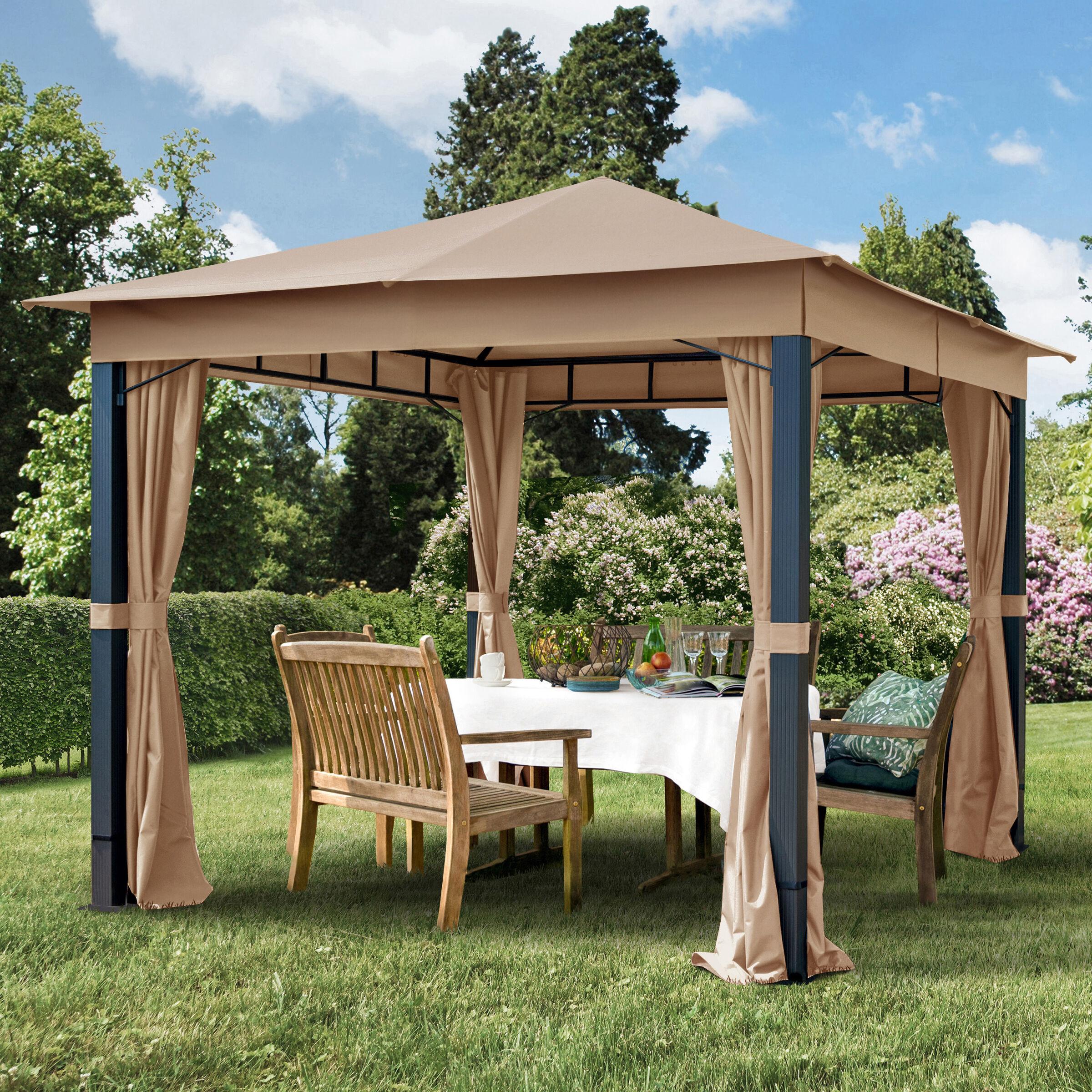 toolport gazebo da giardino 3x3m poliestere con rivestimento in pu 280 g/m² ocra impermeabile