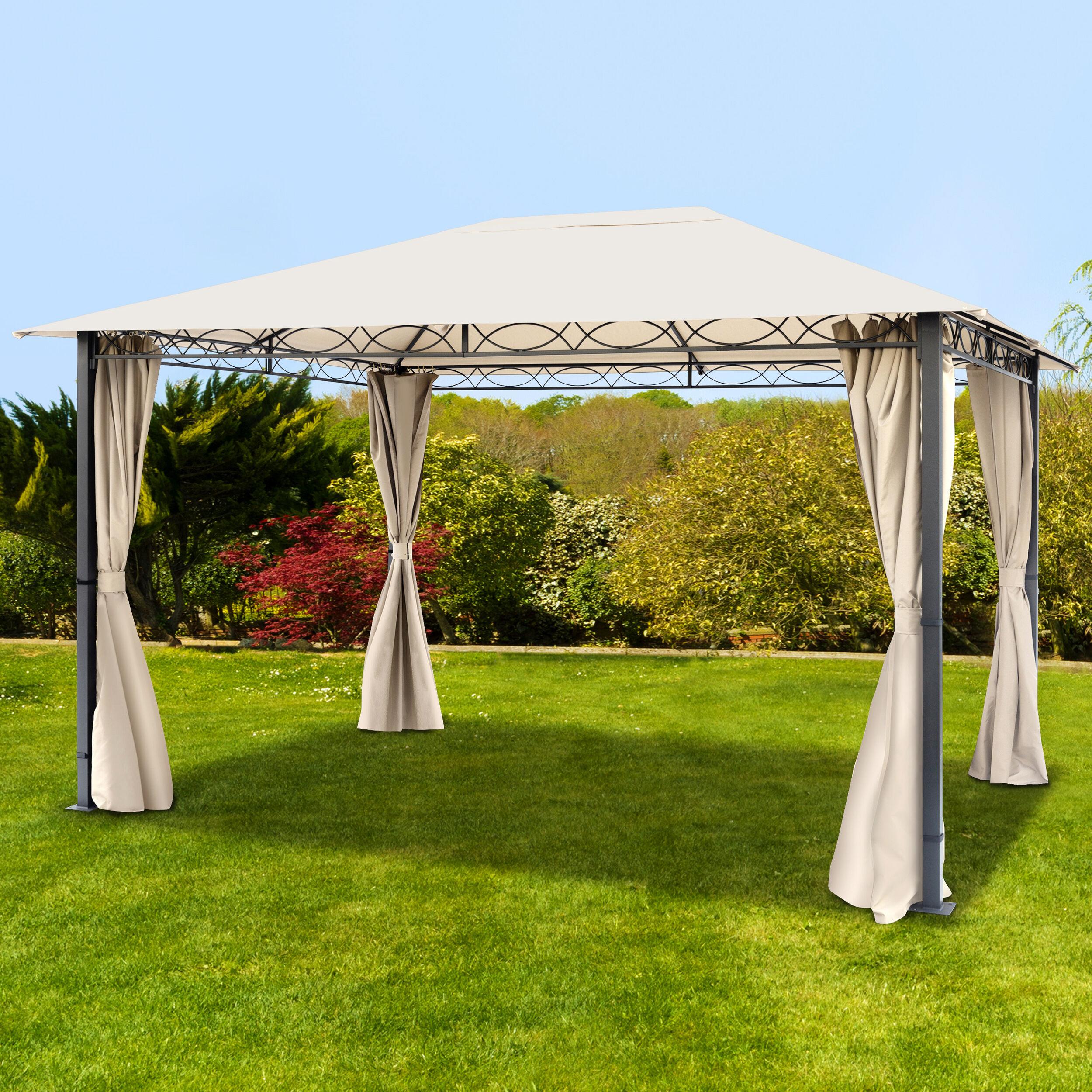 toolport gazebo da giardino 3x4m poliestere con rivestimento in pu 220 g/m² crema impermeabile