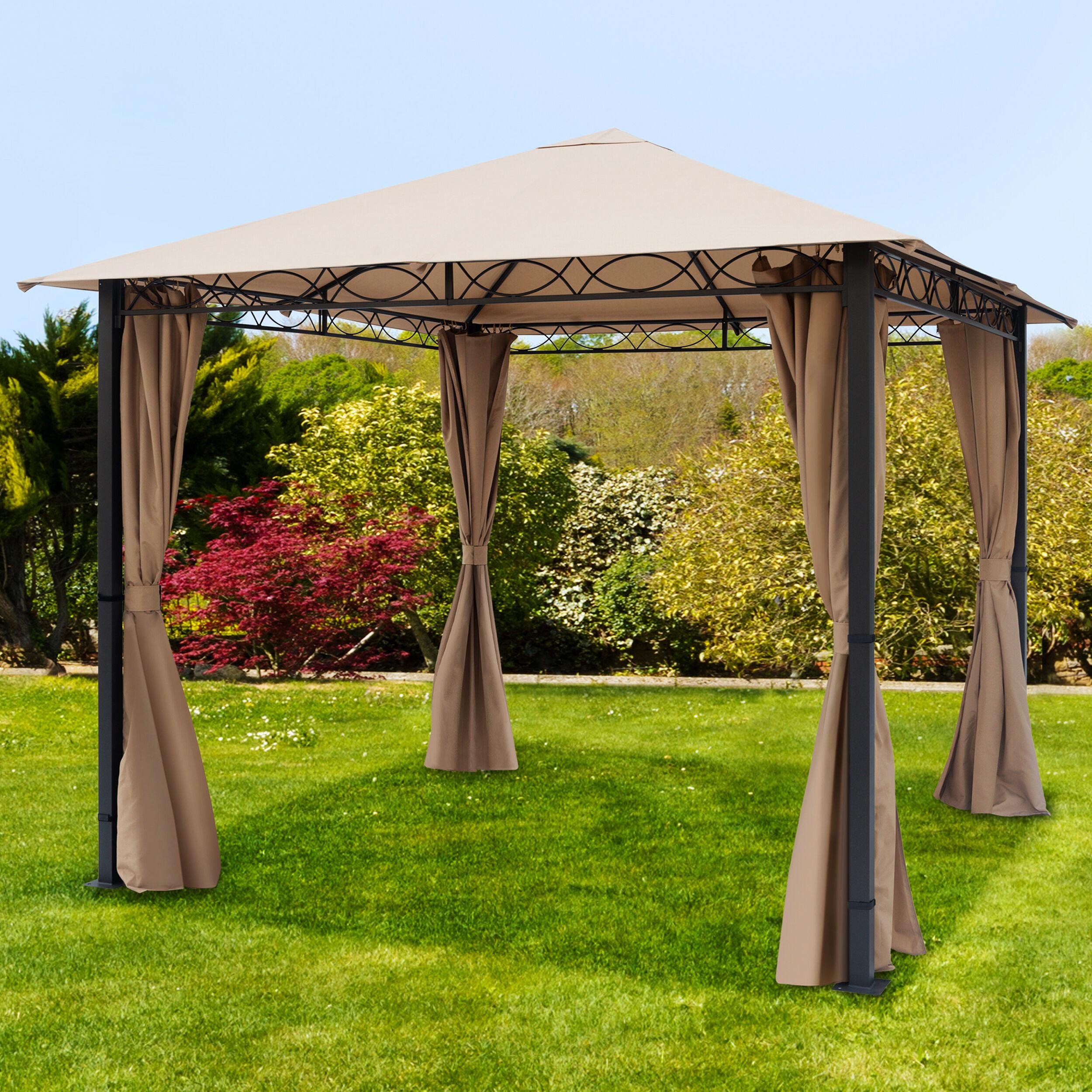 toolport gazebo da giardino 3x3m poliestere con rivestimento in pu 220 g/m² ocra impermeabile