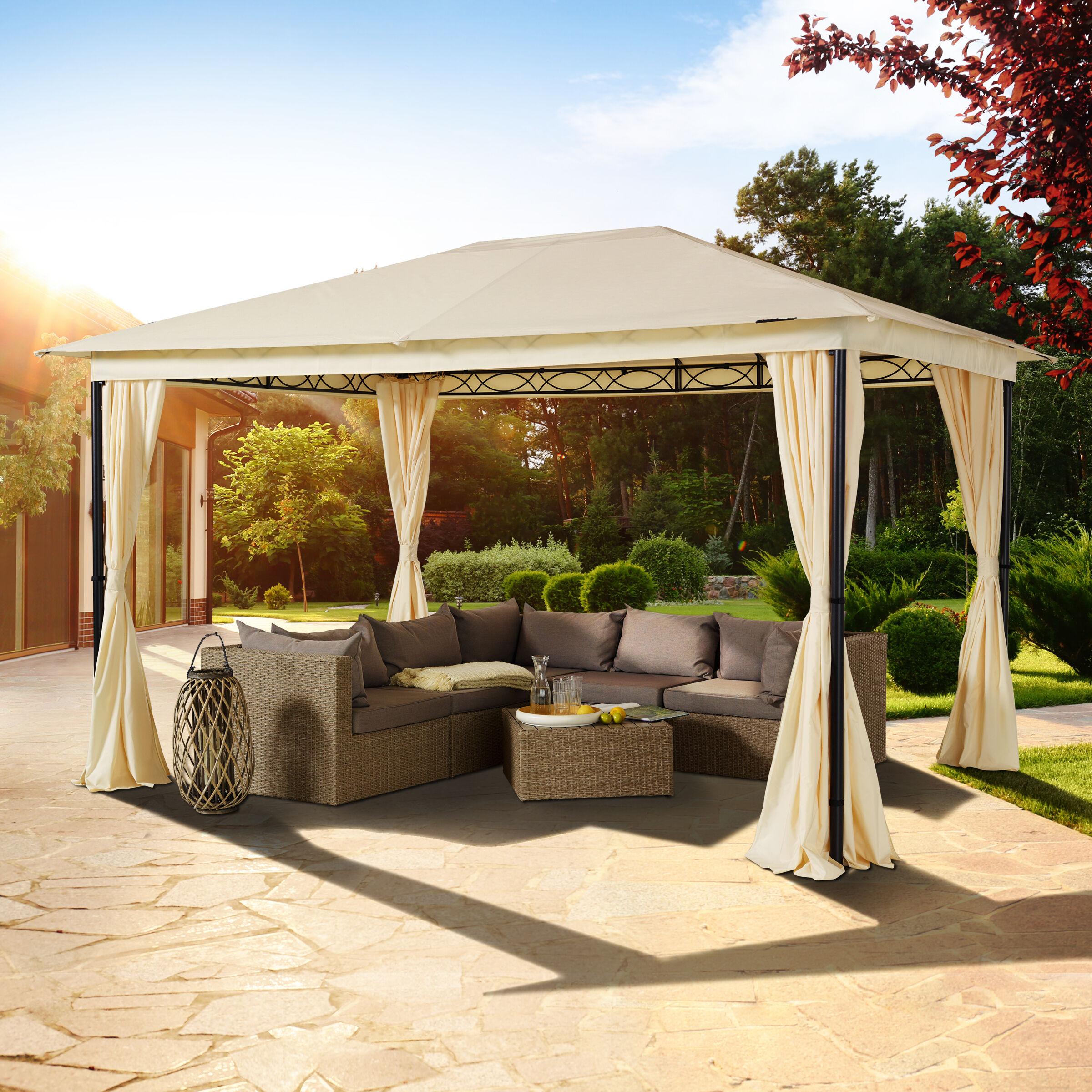 toolport gazebo da giardino 3x4m poliestere con rivestimento in pu 180 g/m² crema impermeabile