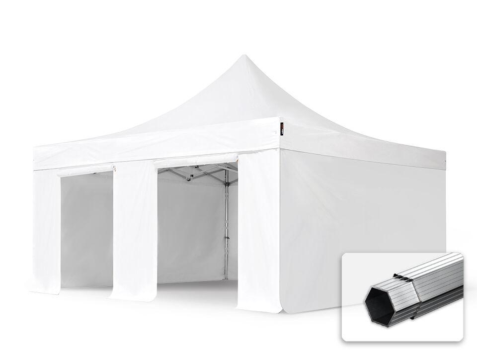 Toolport Gazebo Pieghevole 5x5m Long-Life PVC 620 g/m² bianco sì