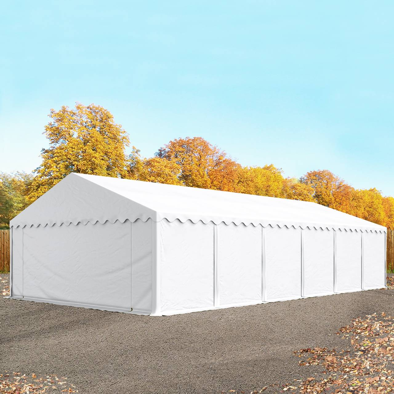 toolport tende capannone 6x12m pvc 500 g/m² bianco sì