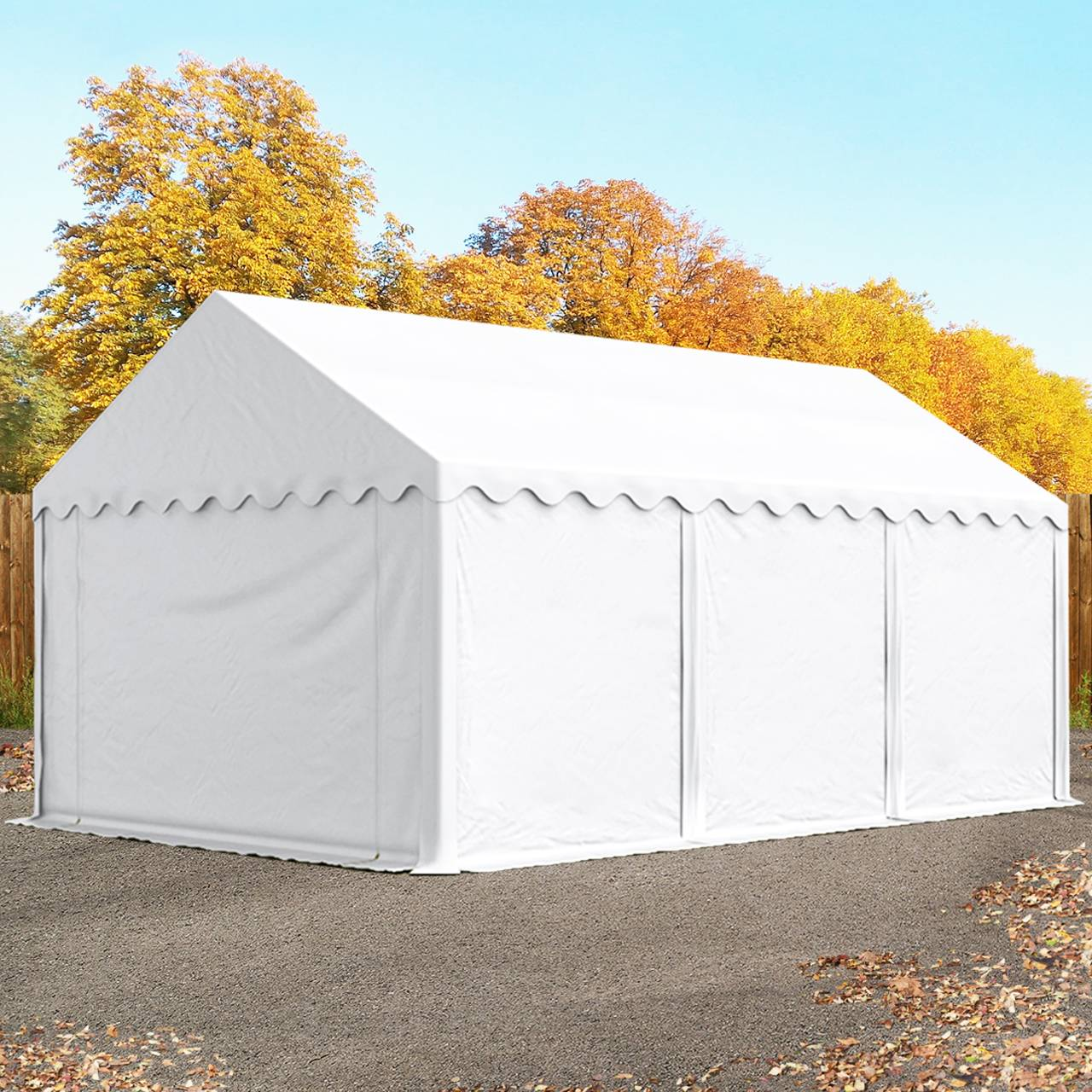 toolport tende capannone 3x6m pvc 500 g/m² bianco sì