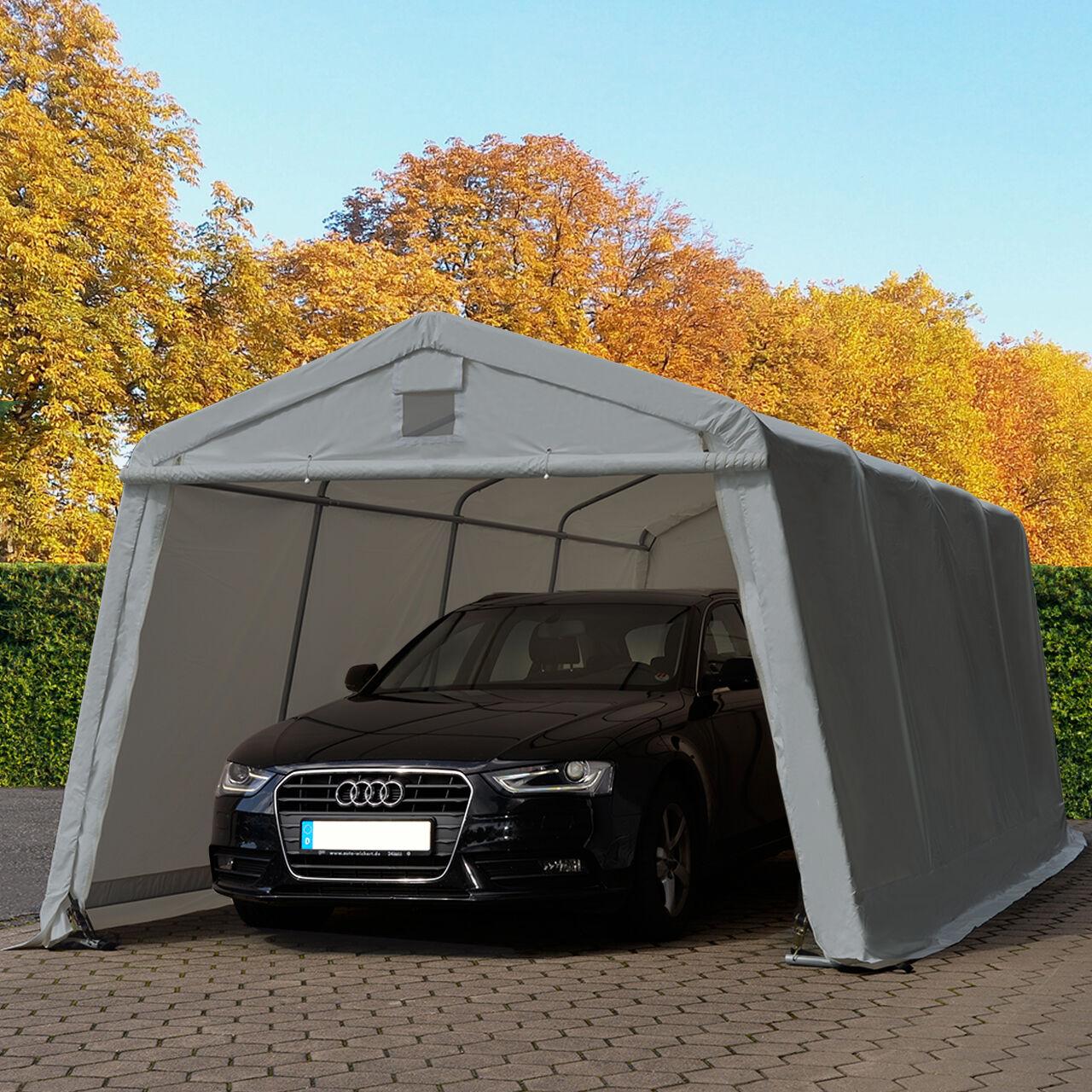toolport tenda garage 3,3x6,0m pvc 500 g/m² grigio sì