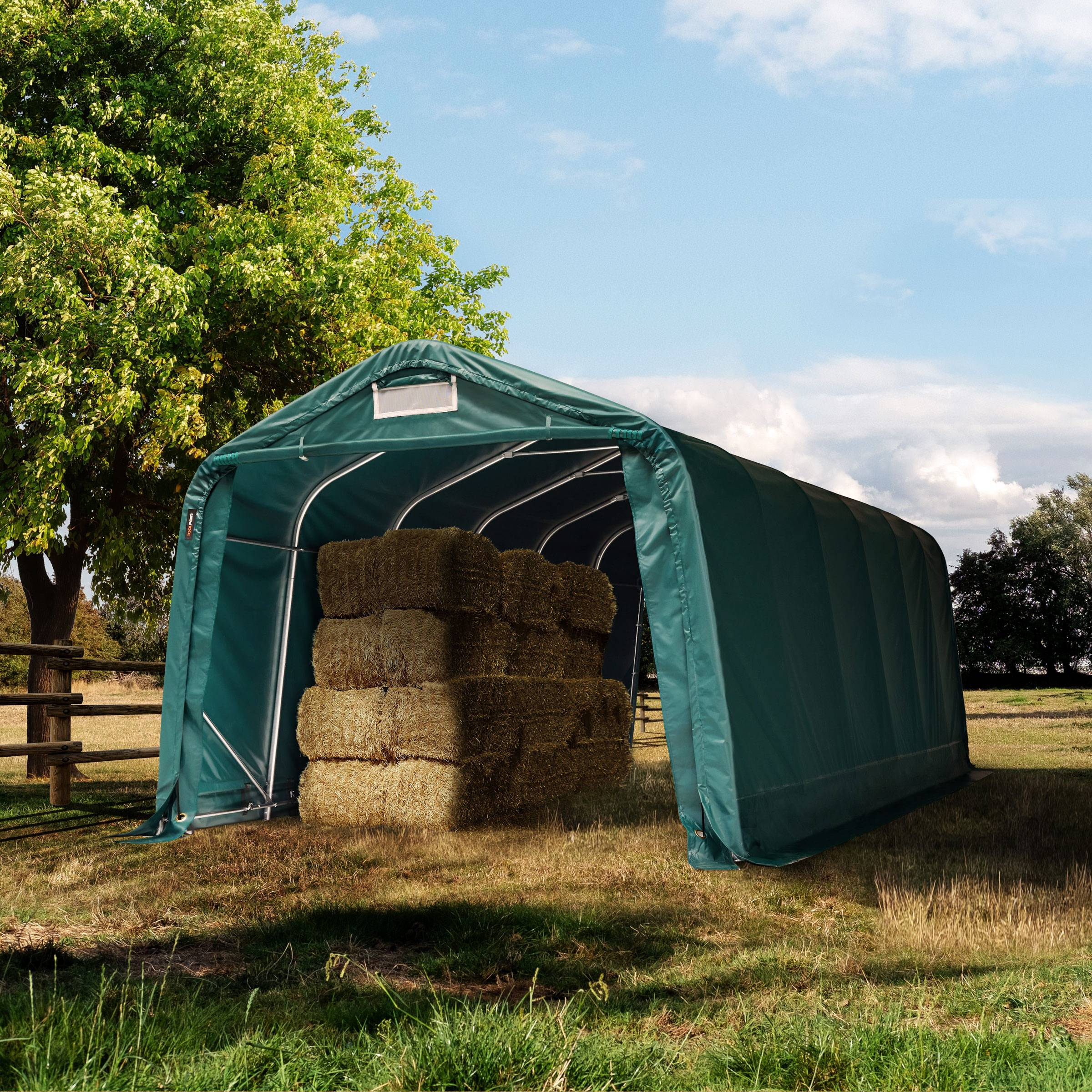 toolport box cavalli 3,3x7,2m pvc 720 g/m² verde sì