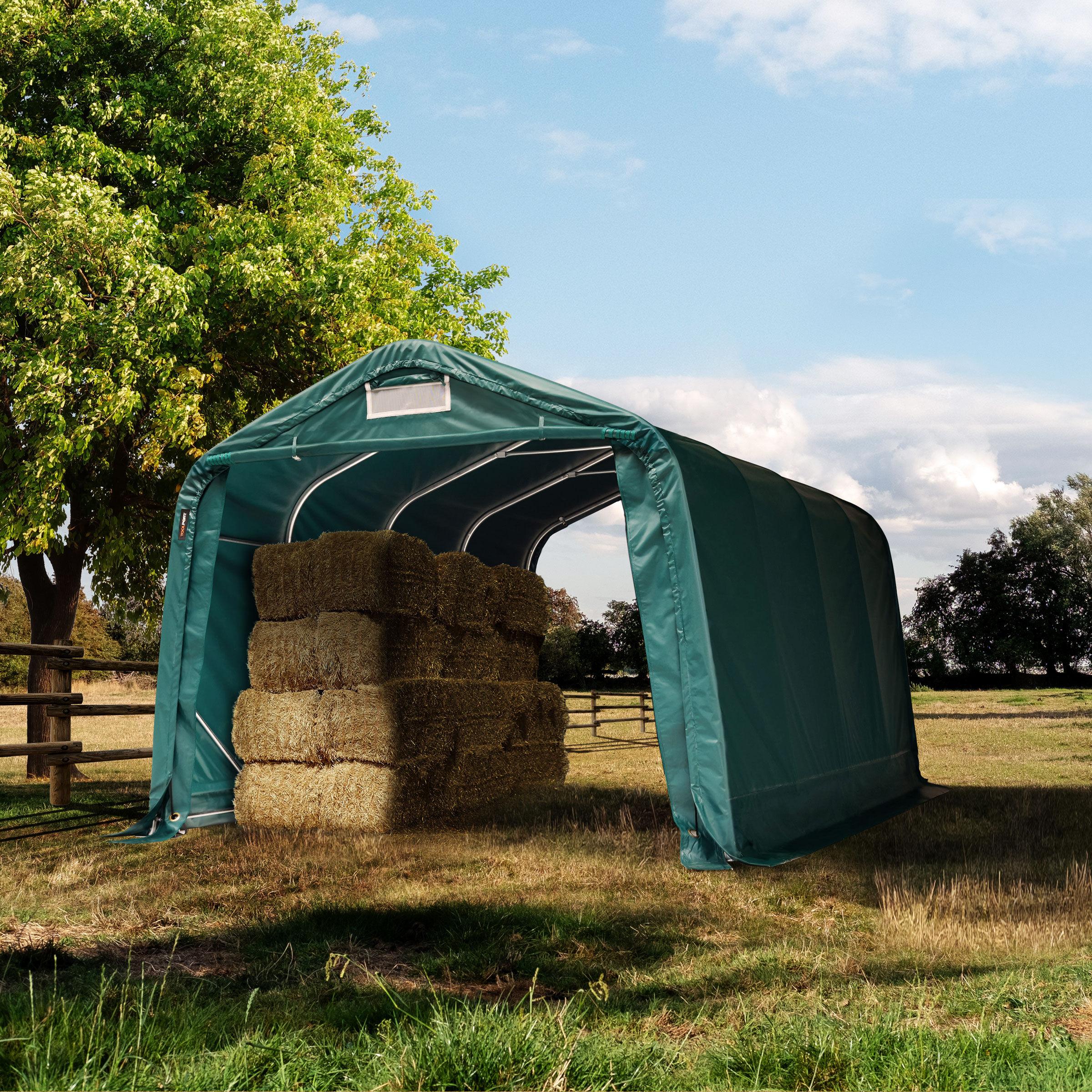 toolport box cavalli 3,3x4,8m pvc 550 g/m² verde sì
