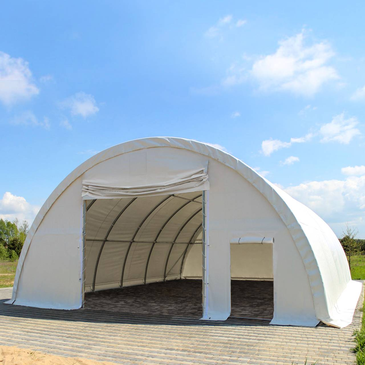Toolport Tunnel Agricolo 9,15x10m PVC 720 g/m2 bianco impermeabile