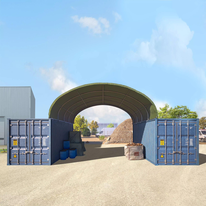 Toolport Tensostruttura Copertura Container 6x6m PVC 720 g/m² verde sì