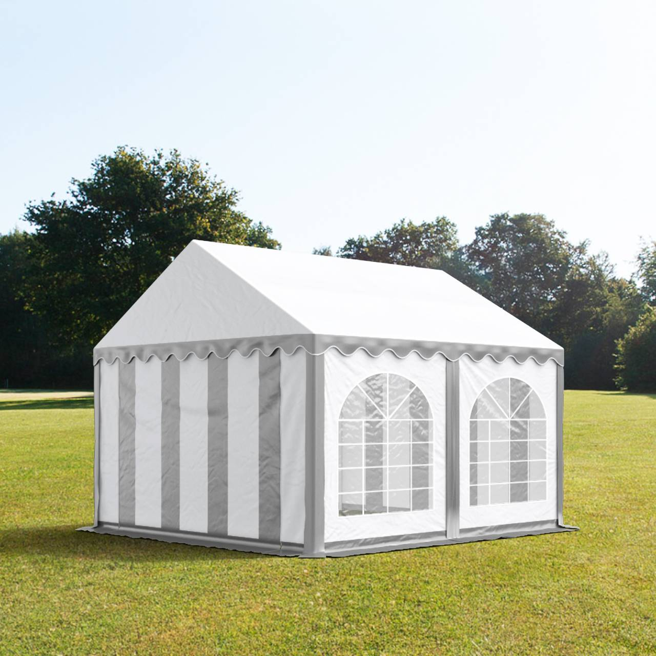 tendapro.it Tendone 4x4m PVC bianco-grigio Gazebo per Feste e Giardino