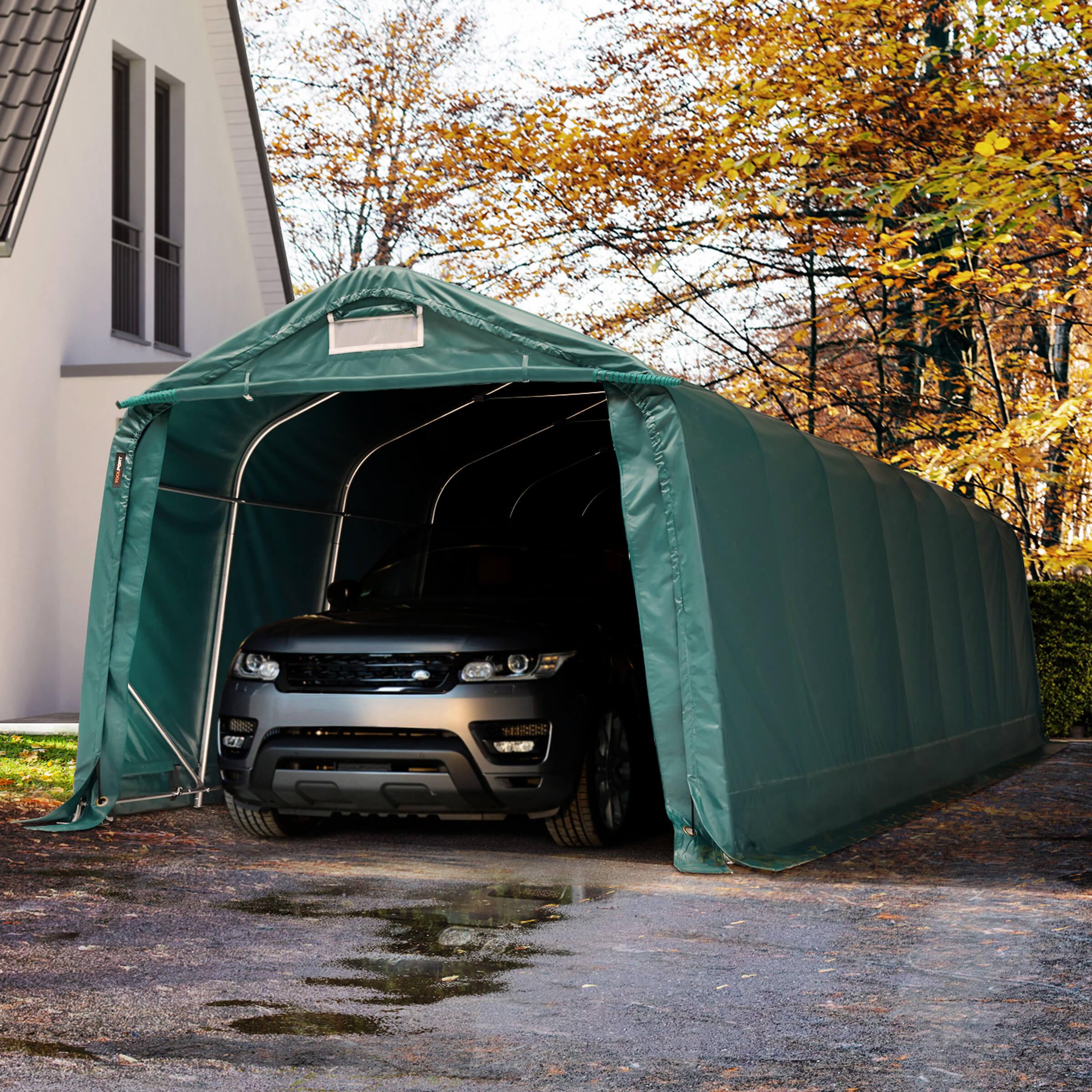 Toolport Tenda Garage 3,3x9,6m PVC 550 g/m² verde sì