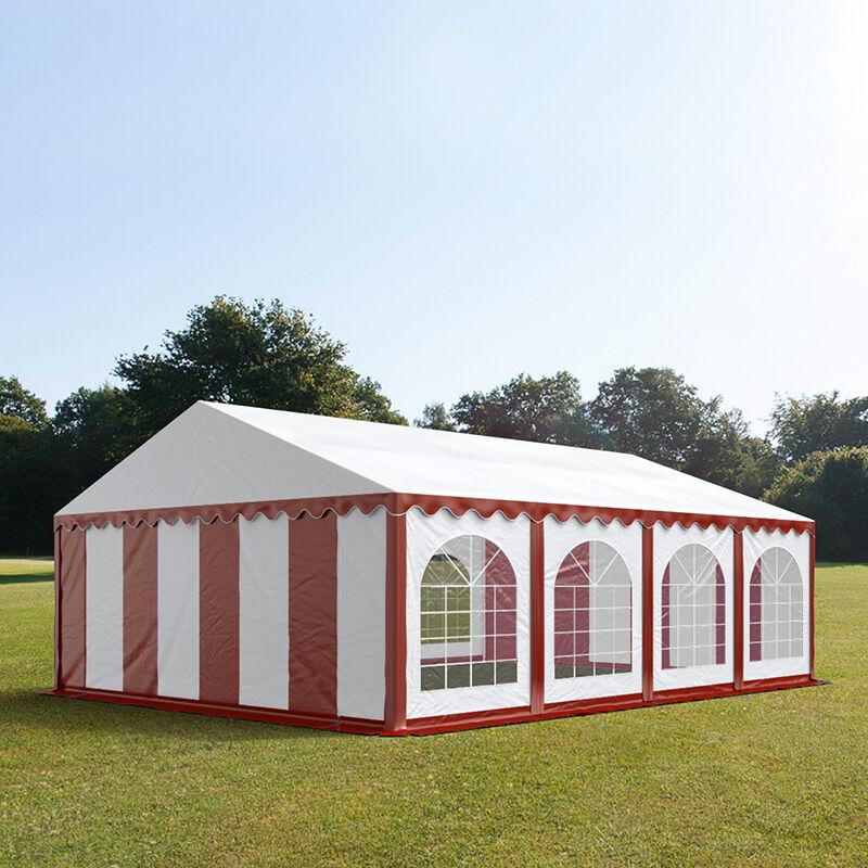tendapro.it Tendone 6x8m PVC bianco-rosso Gazebo per Feste e Giardino