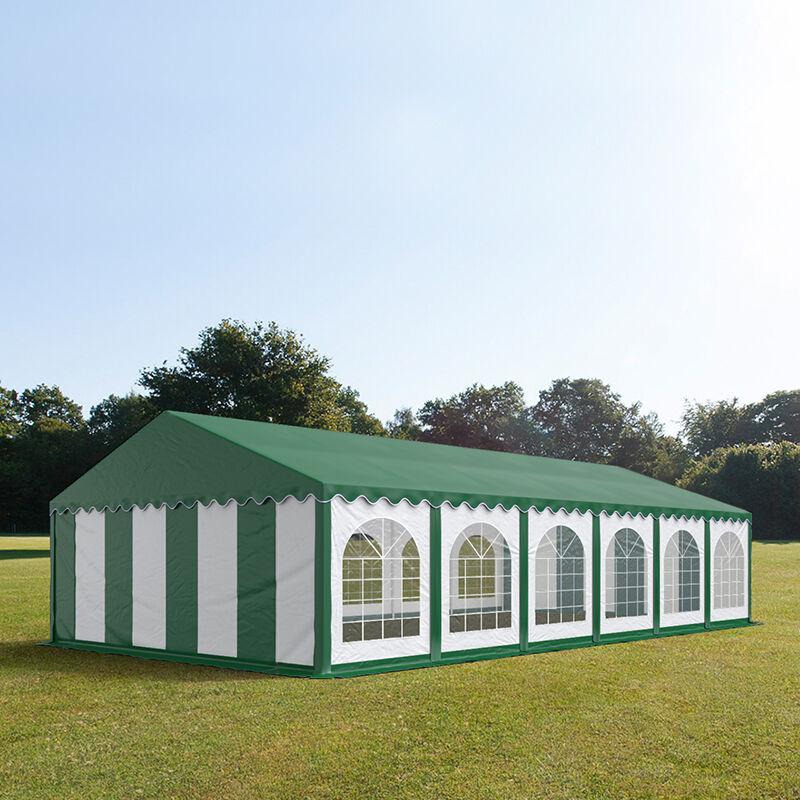 tendapro.it Tendone 6x12m PVC bianco-verde tetto verde Gazebo per Feste e Giardino