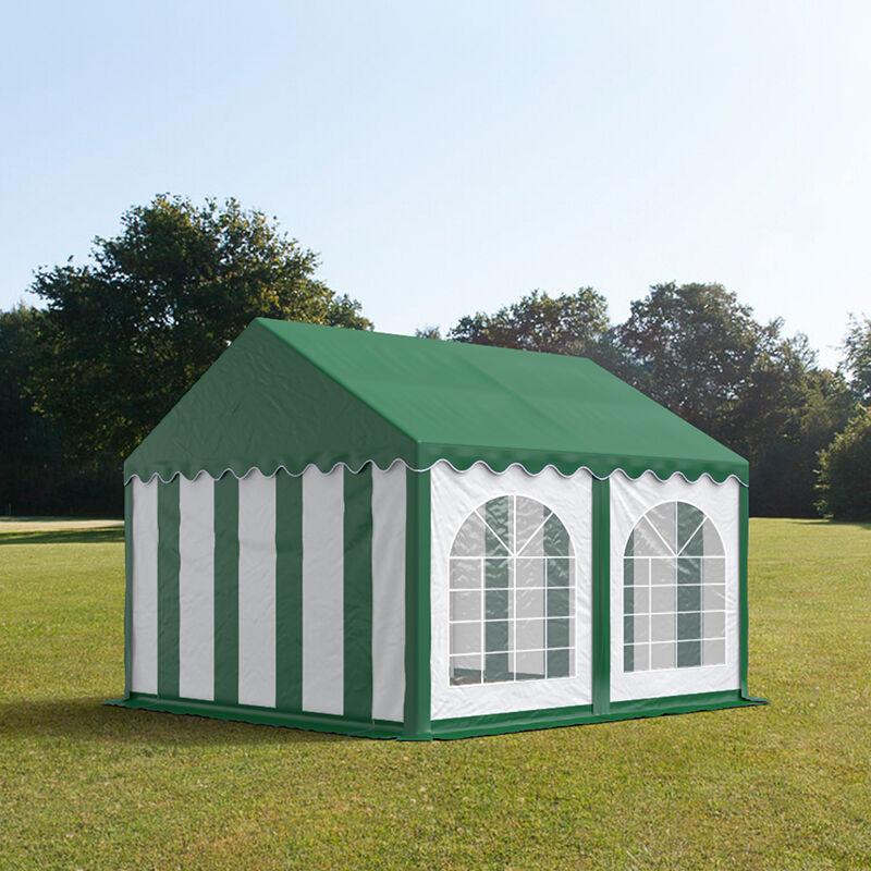 tendapro.it Tendone 4x4m PVC bianco-verde tetto verde Gazebo per Feste e Giardino