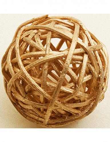 6 palle in vimini colore oro diametro 3.5 cm