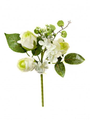 Piccolo mazzo di rose artificiali color avorio