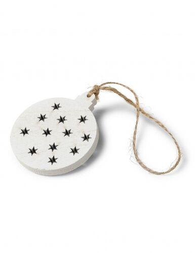 4 palline di Natale con stelle in legno bianco