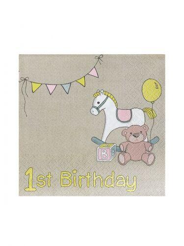 8 Tovaglioli Piccoli primo compleanno cavalluccio