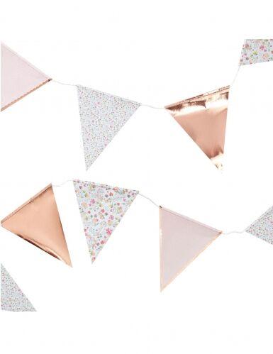 Ghirlanda di bandierine oro rosa floreale