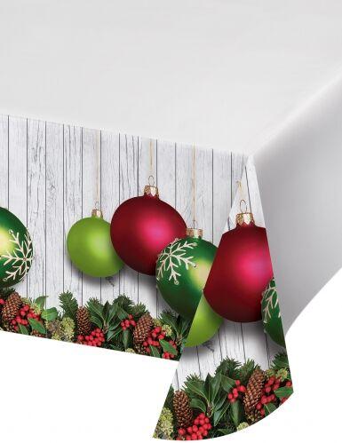 Tovaglia in plastica palline di Natale rosse e verdi