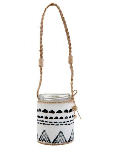 Vasetto in vetro in stile etnico da appendere
