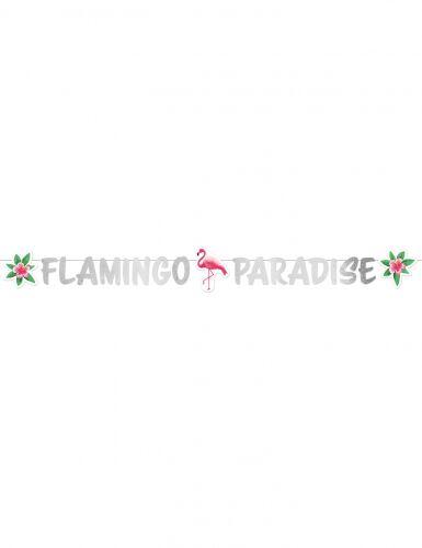 Ghirlanda di carta argento Flamingo Paradise