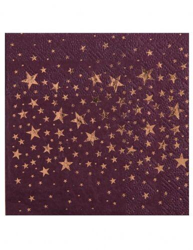 20 tovagliolini di carta color prugna con stelle oro