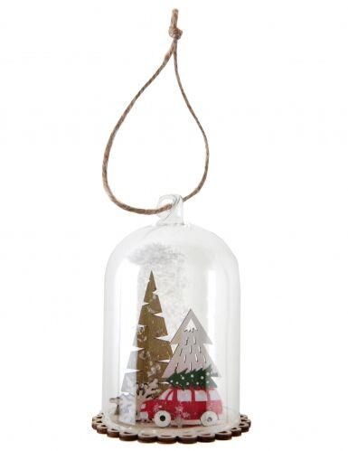 Sospensione campana in vetro con macchina di Natale