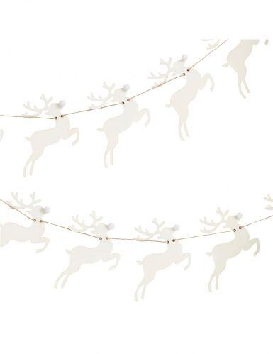 Ghirlanda renne in legno e pon pon bianchi