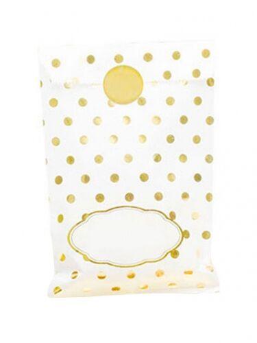 8 sacchetti di carta pois dorati con adesivi