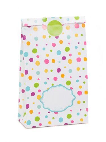 8 sacchetti di carta pois multicolor con adesivi