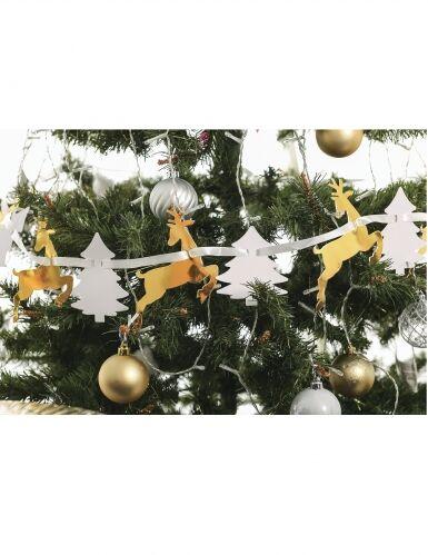 Ghirlanda in cartone alberi e renne bianche e oro