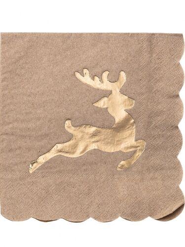8 tovaglioli in carta kraft con renna oro